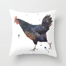 Chicken rooster, hen, farmyard animals, wannabe farmers wife art, black animals Throw Pillow
