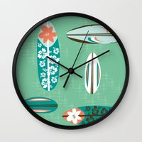 surfboard Wall Clocks featuring Retro Hawaiian Surfboard by Vanillabeandesigns