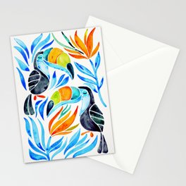 Tropical Toucans – Blue Leaves Stationery Cards
