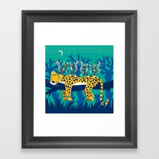 The Leopard and The Lemurs Framed Art Print