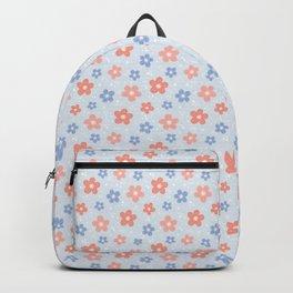 Blue Pink Flower Pattern Backpack