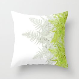 PALE GREEN & GREY ABSTRACT WOODLAND FERNS ART Throw Pillow