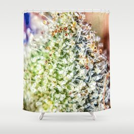 Top Shelf Bud Diamond OG Strain Trichomes Close Up View Shower Curtain