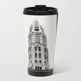 Mather Tower Building Top Chicago Black and White Photo Travel Mug