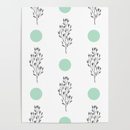 Black brunches & green dots pattern Poster