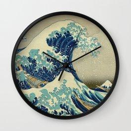 The Great Wave Off Kanagawa by Katsushika Hokusai (c. 1830) Wall Clock