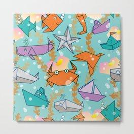 Origami Ocean Metal Print