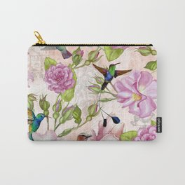 Vintage Roses and Hummingbird Pattern Carry-All Pouch