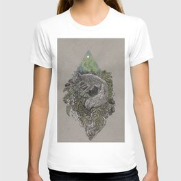 Winter Solstice Arctic Fox and Black Poppies T-shirt