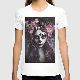 Zombie face tattoo girl T-shirt