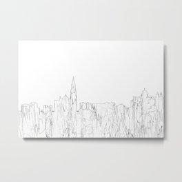 Galway, Ireland Skyline B&W - Thin Line Metal Print