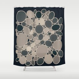 OMEGA circular abstract of neutral beige and gray on black Shower Curtain