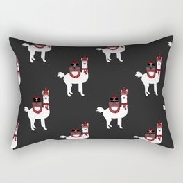 Christmas Llama Pattern on black Rectangular Pillow