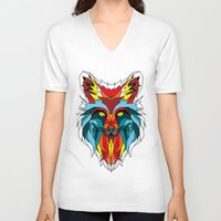 wolf V-neck T-shirts featuring Wolf by mark ashkenazi