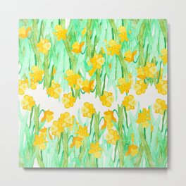 Colorful hand painted watercolor daffodil flowers  Metal Print