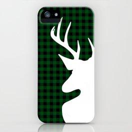 Elegant Green Plaid Deer Design iPhone Case