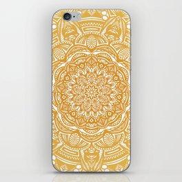 Golden Mustard Yellow Orange Ethnic Mandala Detailed iPhone Skin