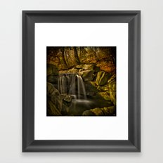 The Central Park Waterfall In Fall Framed Art Print