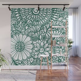 Hand drawn forest green white modern floral Wall Mural