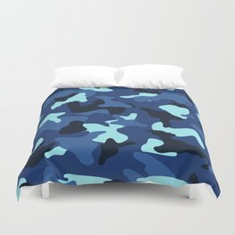 Blue marine army camo camouflage pattern Duvet Cover