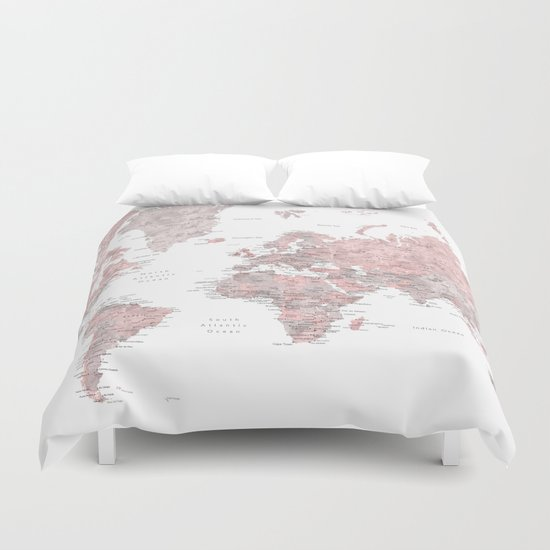 Book Cover Watercolor Xl : Dusty pink and grey detailed watercolor world map prints