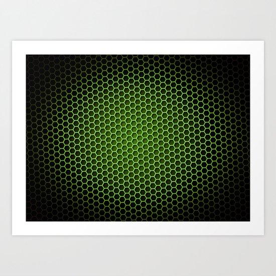 Honeycomb Background Green Art Print
