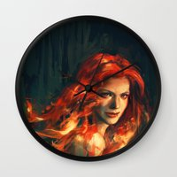 war Wall Clocks featuring War by Alice X. Zhang