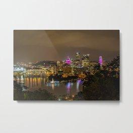 Pittsburgh Skyline Pink Cancer awareness Metal Print