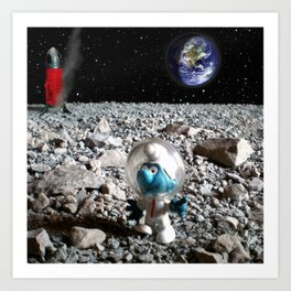 Smurf in the Moon Art Print