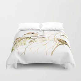Sparrows on Tree, sparrow bird art decor brown Duvet Cover