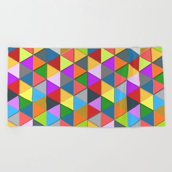 Colorful triangle galore geometric pattern Beach Towel