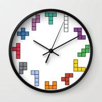 tetris Wall Clocks featuring Tetris by Adayan