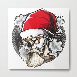 Santa Claus Christmas Skull Metal Print