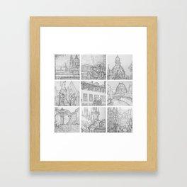 Prague sketches, part two by David A Sutton. sketchbookexplorer.com Framed Art Print