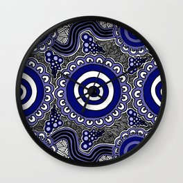Authentic Aboriginal Artwork - Connections Wall Clock