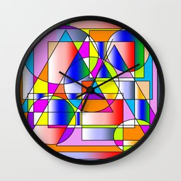 Colorful Geomatics Shape Circle Square Abstract  Wall Clock