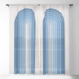 Gradient Arch - Blue Tones Sheer Curtain