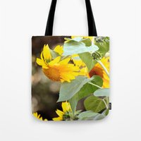 sunflowers Tote Bags featuring SUNFLOWERS :) by Teresa Chipperfield Studios