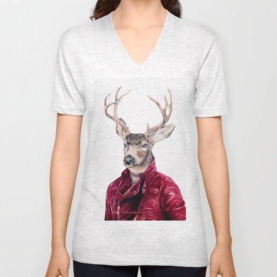 Deer In Leather Unisex V-Neck