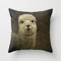 alpaca Throw Pillows featuring Alpaca  by Guna Andersone & Mario Raats - G&M Studi
