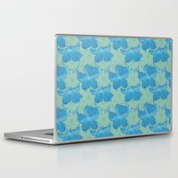 scuba Laptop & iPad Skins featuring Scuba Blue and Lucite Green Watercolor Floral by Covered By Design
