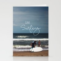 surfing Stationery Cards featuring Surfing by Brandy Coleman Ford