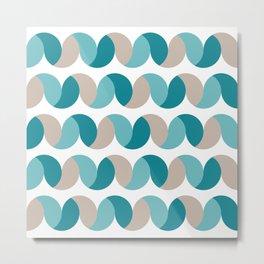 Abstract geometric waves teal & cream Metal Print