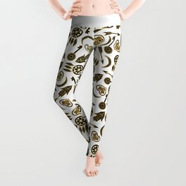 Black and Gold Popular Symbols on White Leggings