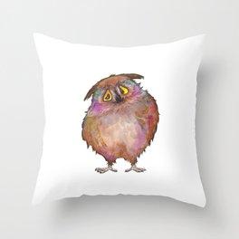 Sad owl Throw Pillow