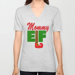 Santa's Mommy Elf Unisex V-Neck