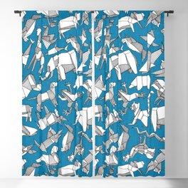 origami animal ditsy blue Blackout Curtain