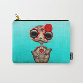 Red Day of the Dead Sugar Skull Baby Turtle Carry-All Pouch