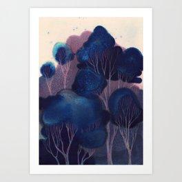 Blue Woodland Art Print