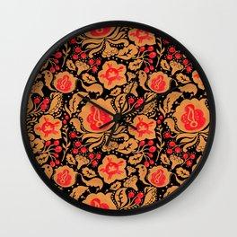 Khokhloma Kulture Pattern Wall Clock